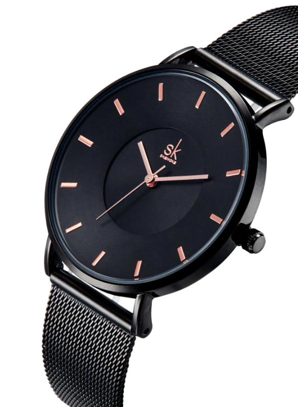 SK Women Luxury & Elegant Watch Miyota movement Black Mesh Bracelet