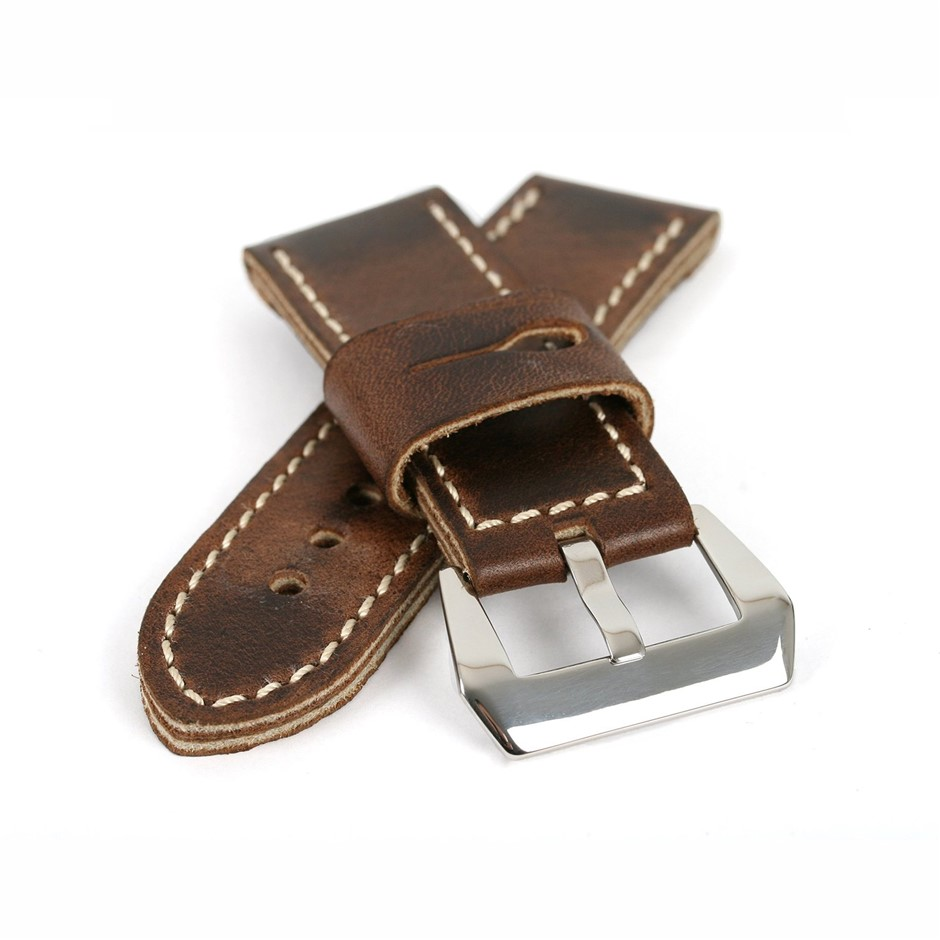 Dark Brown Genuine Leather ammo Strap 26/26 Buckle fits Panerai Watch