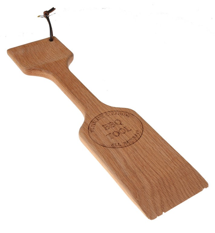 Ultimate Cleaning BBQ Tool. Red Oak Timber, 50cm x 12cm Blade Width. Buyers