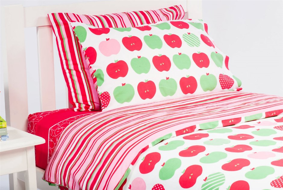 Kids Quilt Cover Set, Apples / Stripe - Double Size