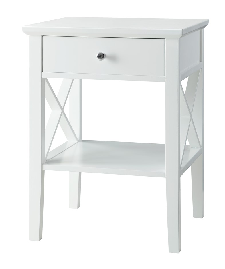 Long Island 1 Drawer Side Table - White