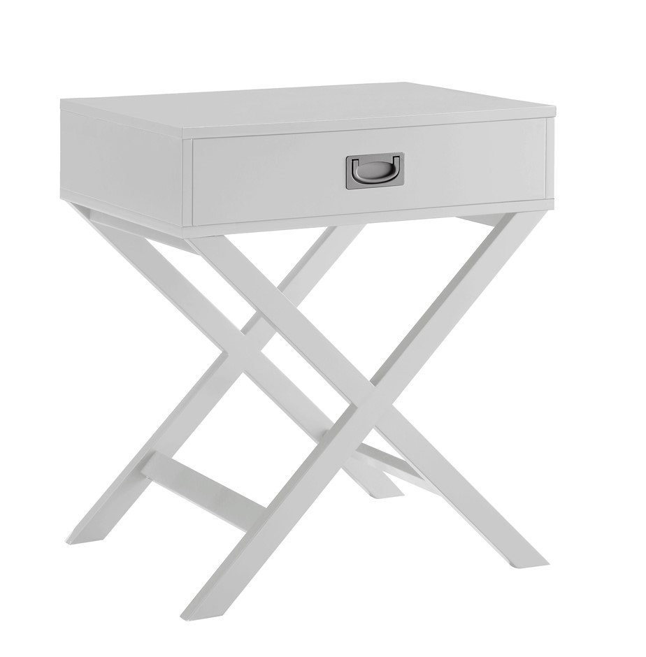 Alexa Cross Leg 1 Drawer Bedside Table - White