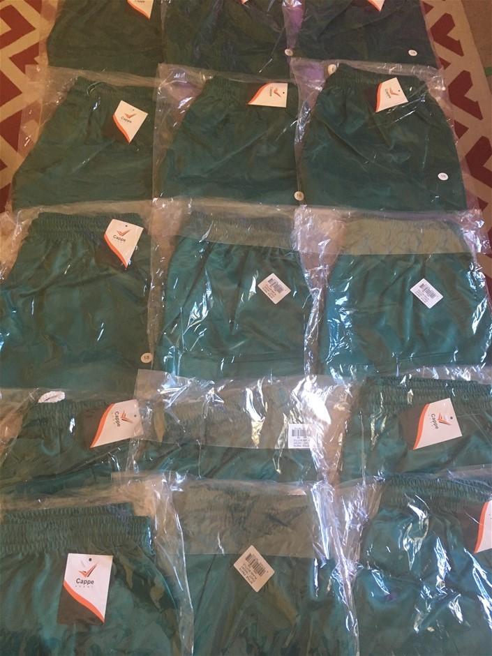 10 x Cappe Sports Shorts, Green Plain Bottle, Size 18