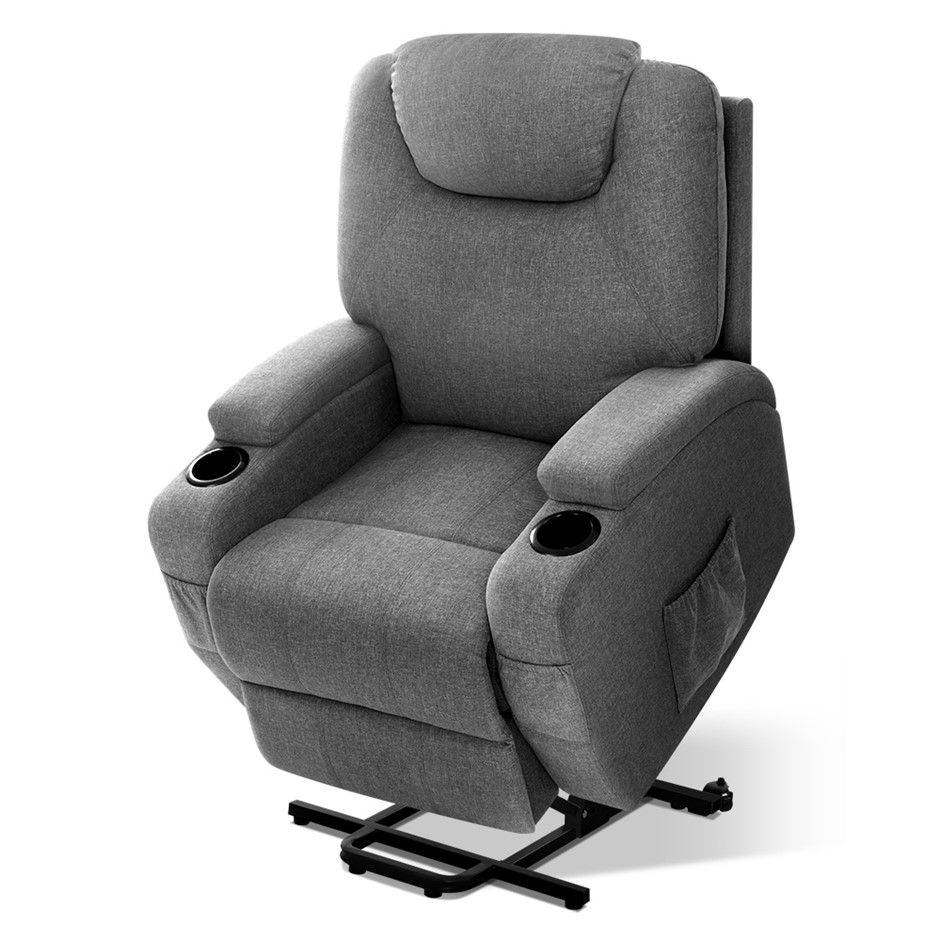 Artiss Electric Massage Chair Recliner Lift Motor Armchair Heating Fabric