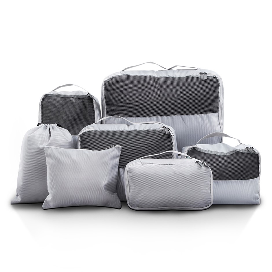 Wanderlite 7PCS Grey Luggage Organiser Suitcase Set Packing Cubes Pouch Bag