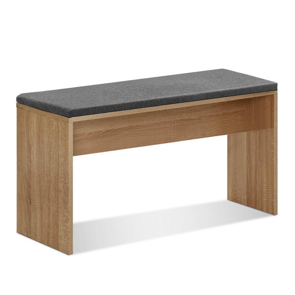Artiss Dining Bench NATU Upholstery Seat Stool Cushion Furniture Oak 90cm