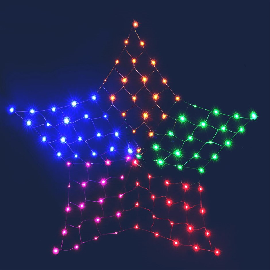 Jingle Jollys Christmas Lights Motif LED Star Net Waterproof Outdoor Colour