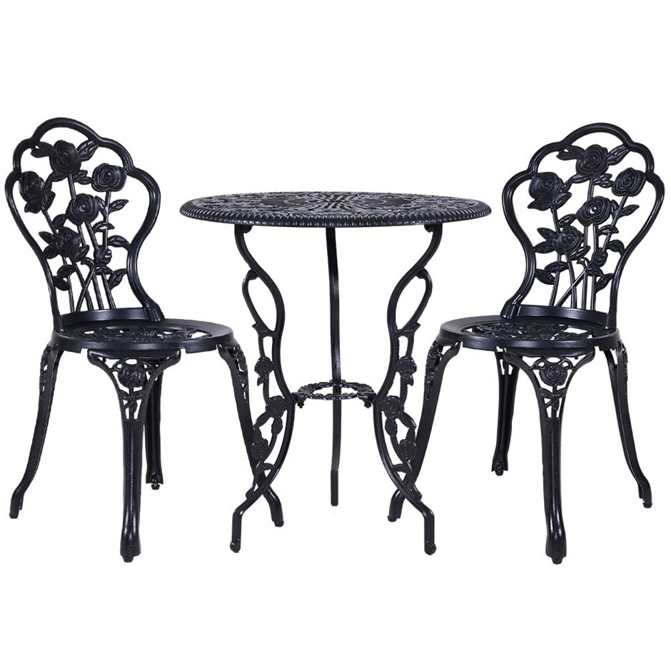 Gardeon 3PC Outdoor Setting Cast Aluminium Bistro Table Chair Black 1015