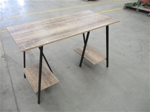 Timber Table with Black Metal Frame