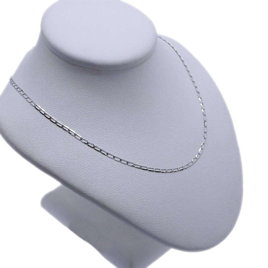 9ct White Gold, 1.25g Italian Solid Chain Necklace
