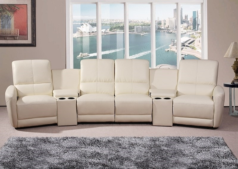 Oscar - 4 Seater Home Theatre Reclining Lounge, White
