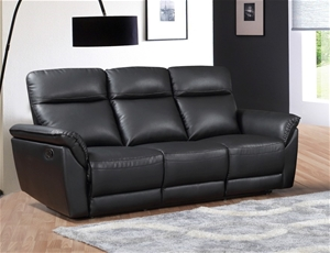 Turin 3 Seater Recliner Lounge – Black
