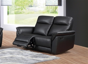 Turin 2 Seater Recliner Lounge – Black