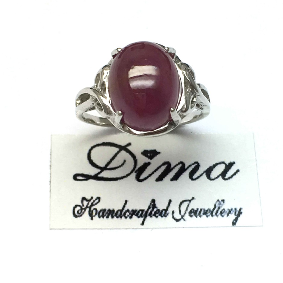 18ct White Gold, 10.16ct Ruby Cabochon Ring