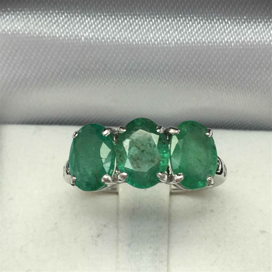 18ct White Gold, 3.48ct Emerald and Diamond Ring
