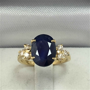18ct Yellow Gold, 3.63ct Blue Sapphire a