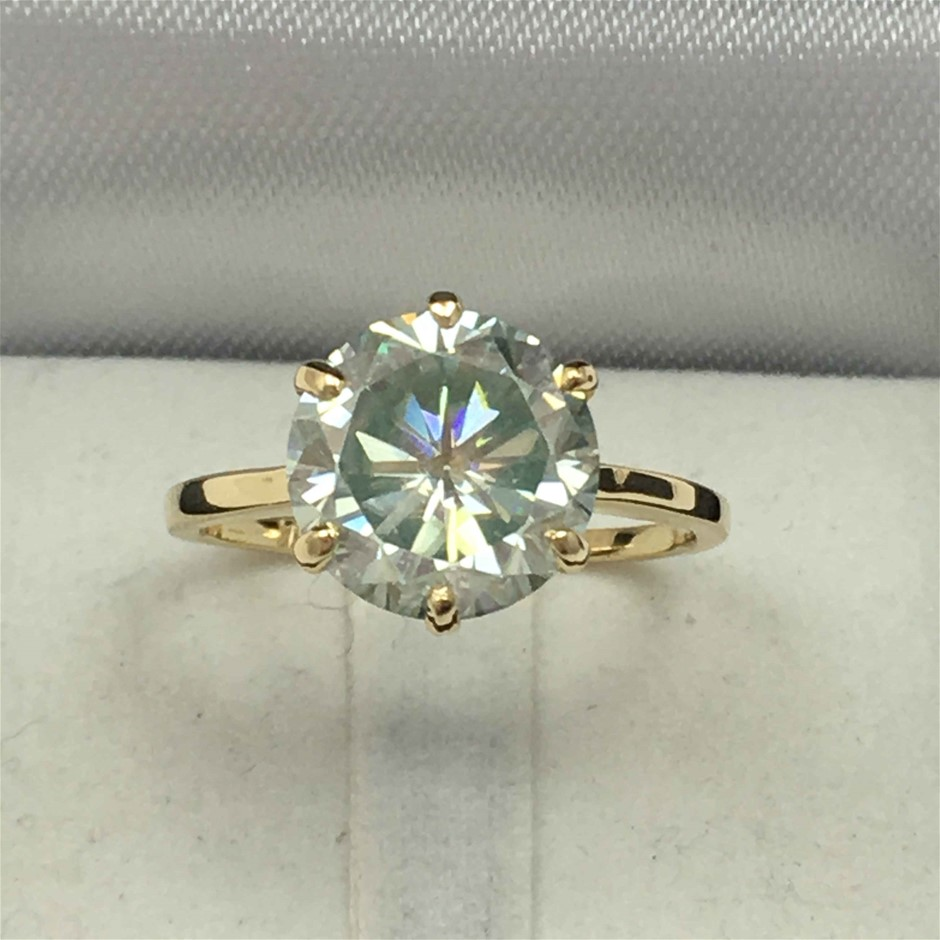 18ct Yellow Gold, 3.43ct Moissanite Ring