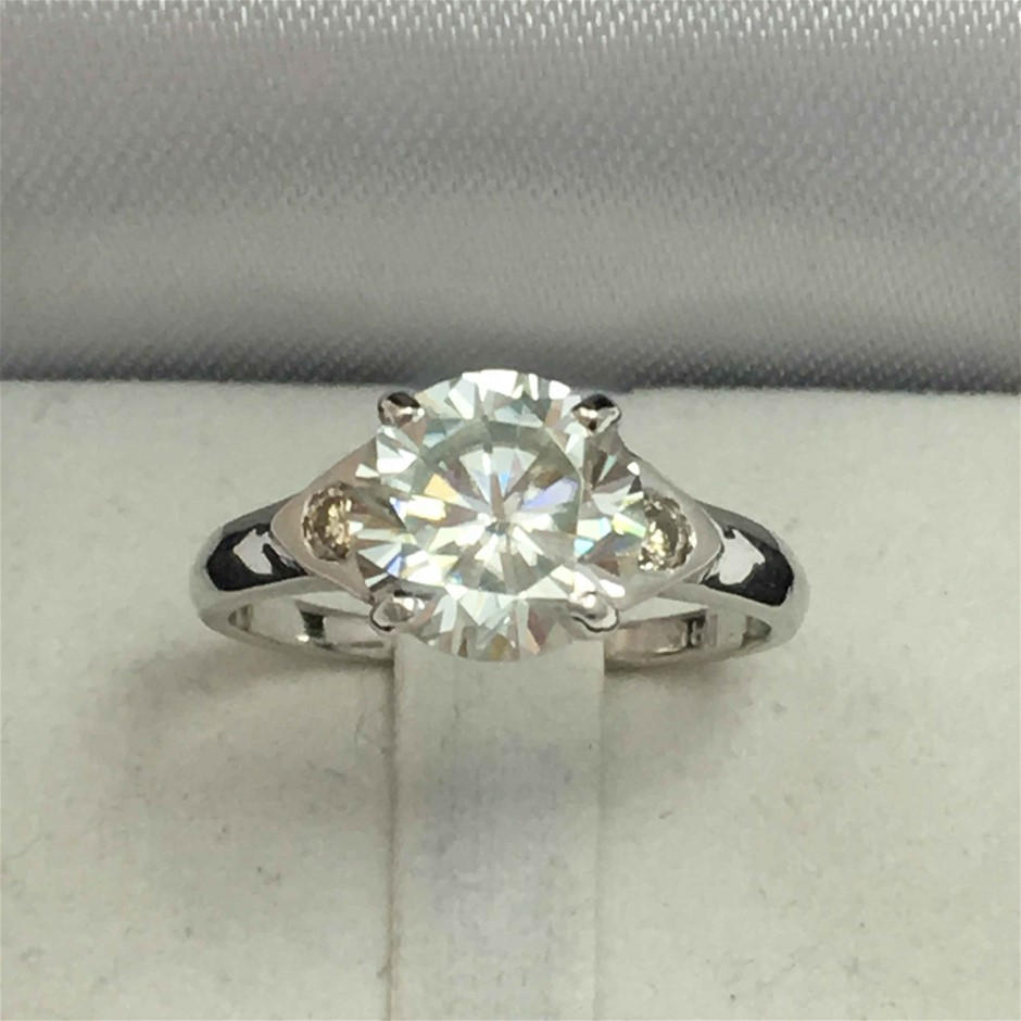18ct White Gold, 2.21ct Moissanite and Diamond Ring