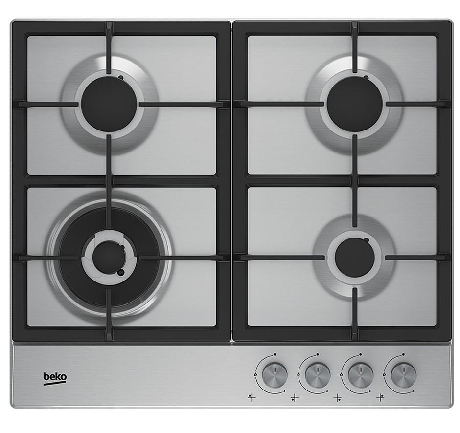 Beko BCT60GX 60cm Stainless Steel Gas Cooktop