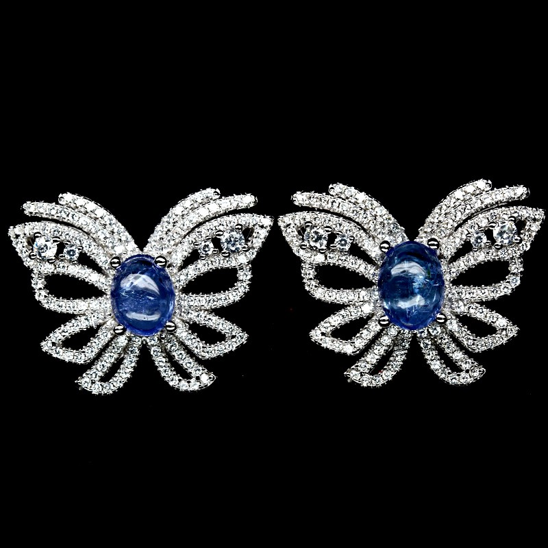 Striking Genuine Tanzanite Butterfly Stud Earrings