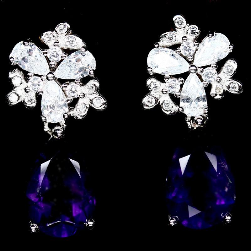 Beautiful genuine Deep Purple Amethyst Drop earrings.