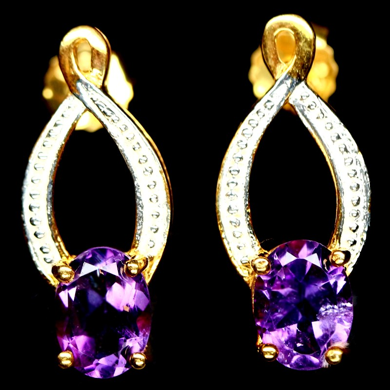 Delightful Genuine Amethyst Huggie earrings