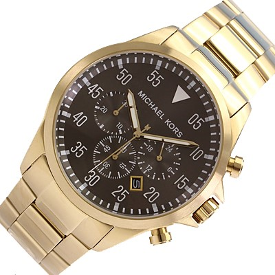 Mens Michael Kors Couture NY gold plated 'Gage' chrono. watch,