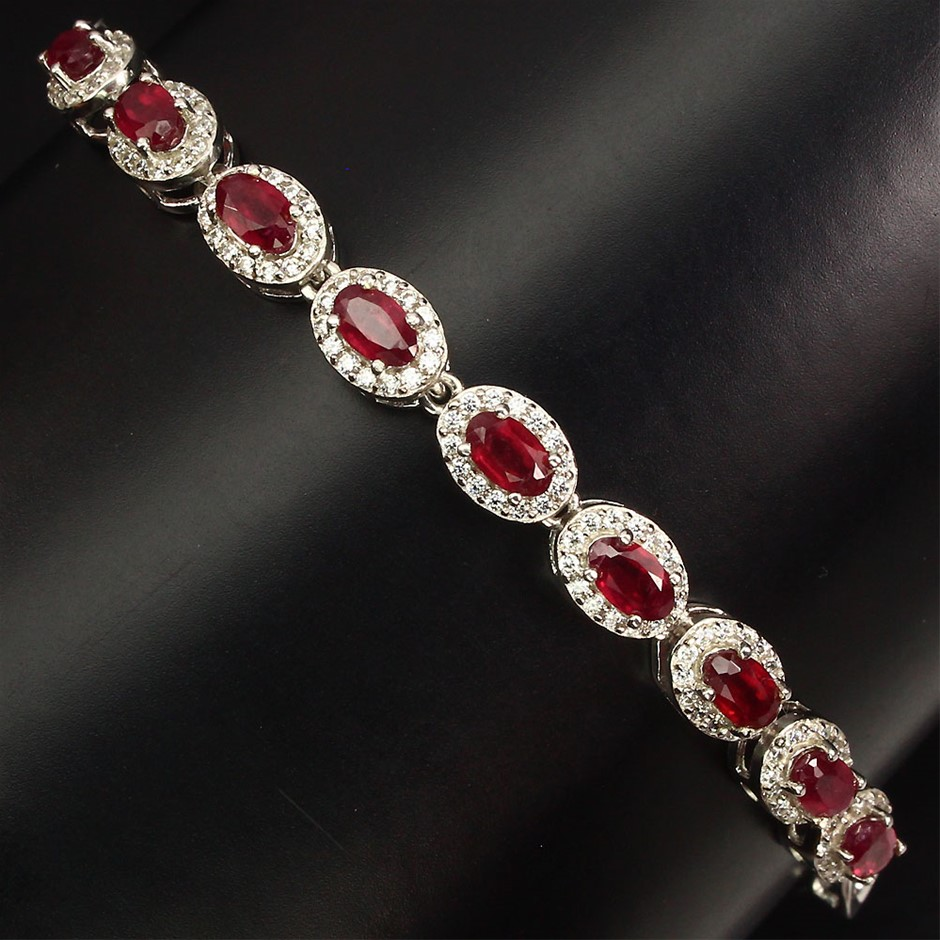Spectacular genuine Ruby Tennis Bracelet.