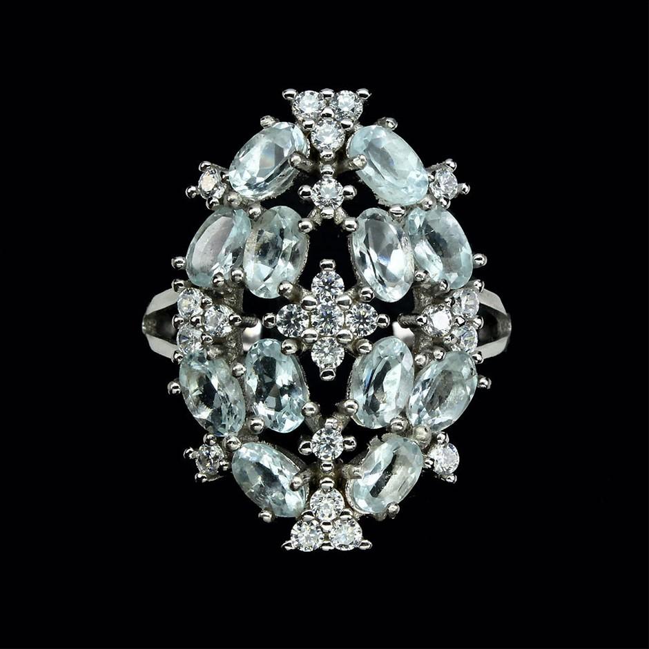 Gorgeous Genuine Aquamarine Cluster Ring.