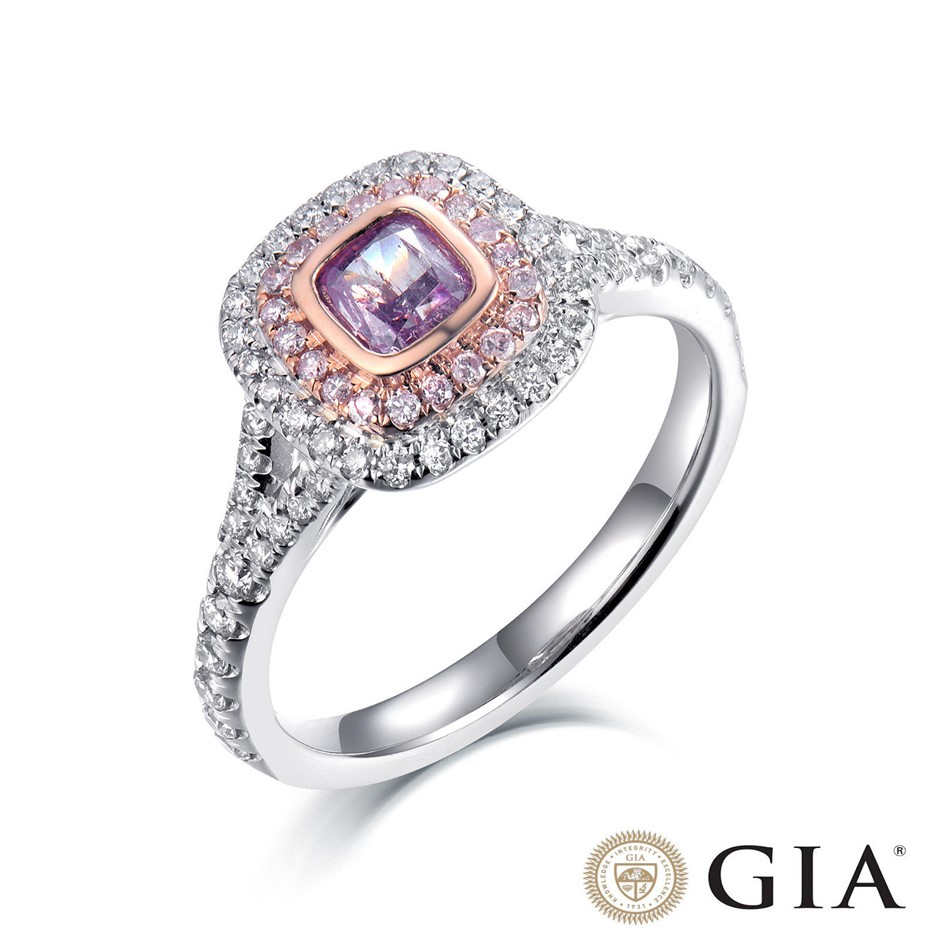 18ct White and Rose Gold, 0.89ct GIA Pink Diamond Engagement Ring