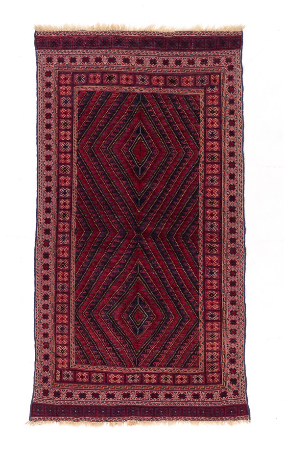 Afghan Hand Knotted Meshawani Mixed Weave Floor Rug Size (cm): 110 x 204