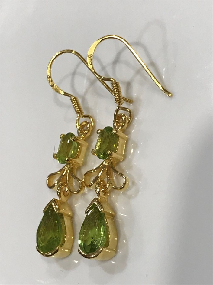 Stunning Genuine Peridot & 18K Gold Vermeil Drop Earrings