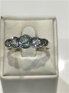 Truly Magnificent Five Stone Blue Topaz