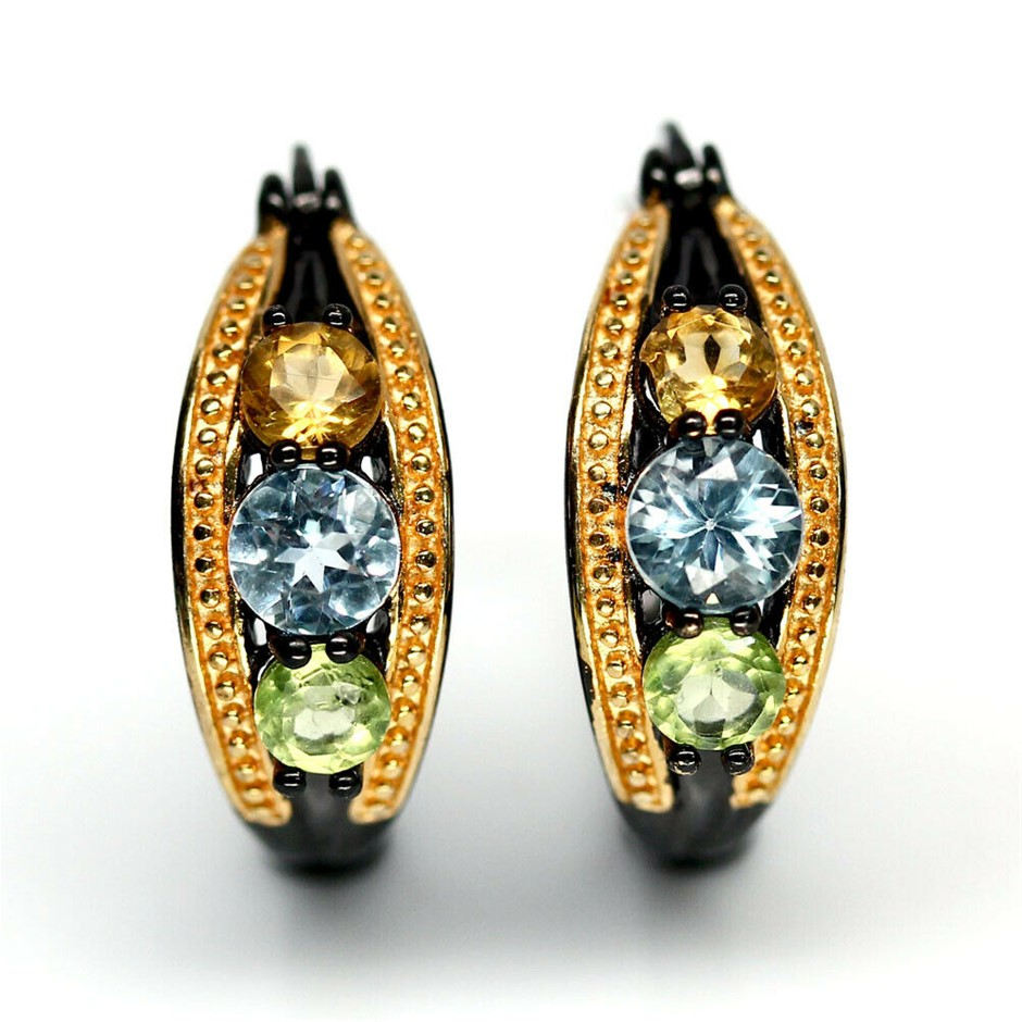 Lovely Yellow Gold Sky Blue Topaz Citrine & Peridot Earrings.