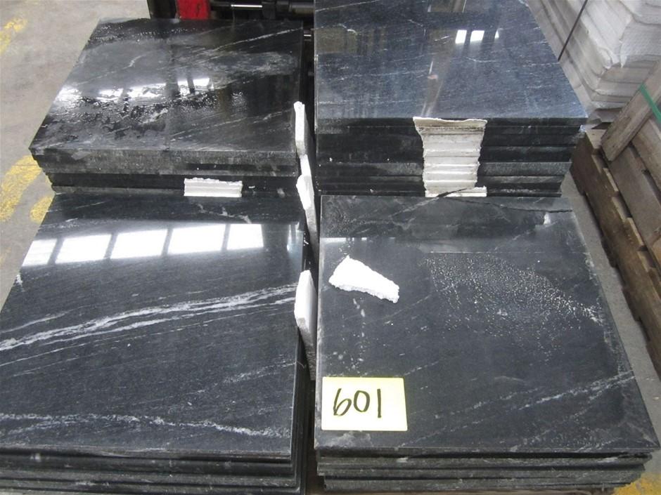 52 units of Polished Black Granite (Marbled Effect) Tiles