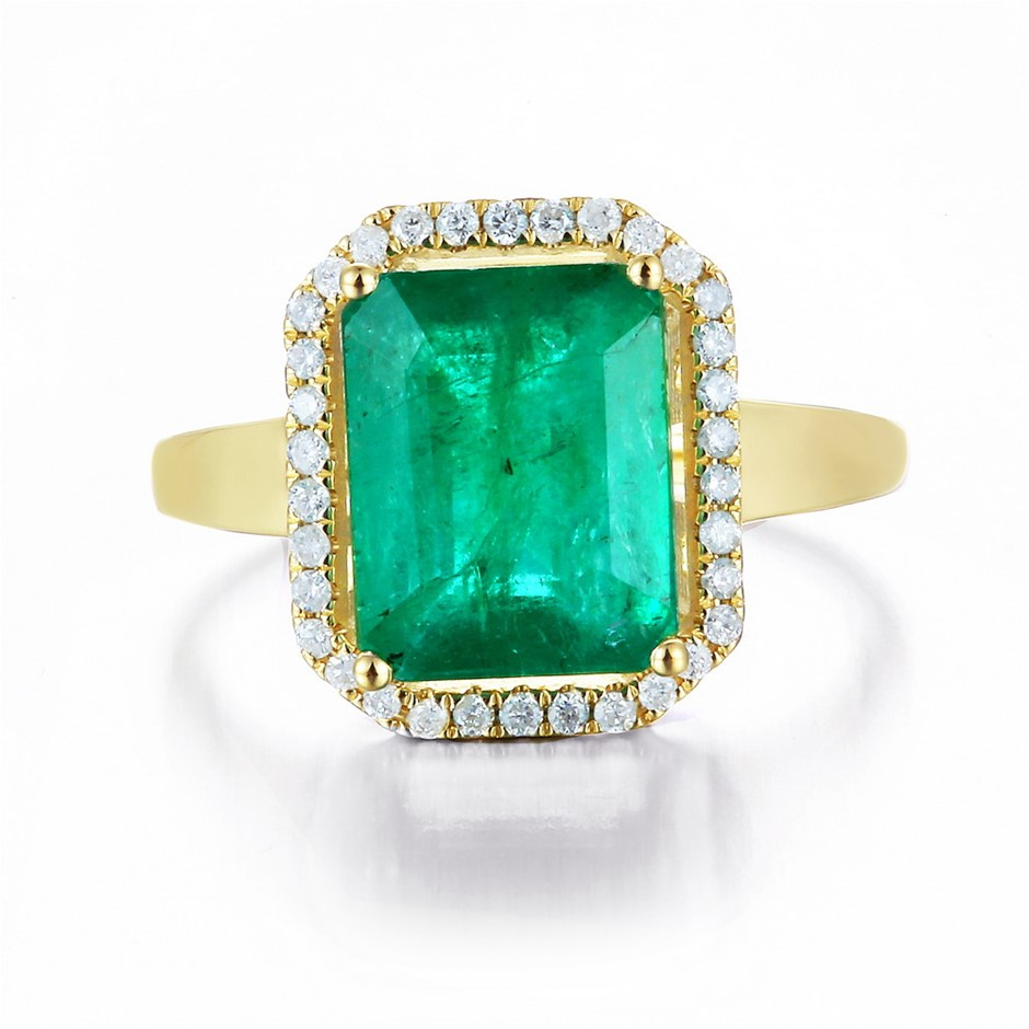 9ct Yellow Gold, 2.12ct Emerald and Diamond Ring