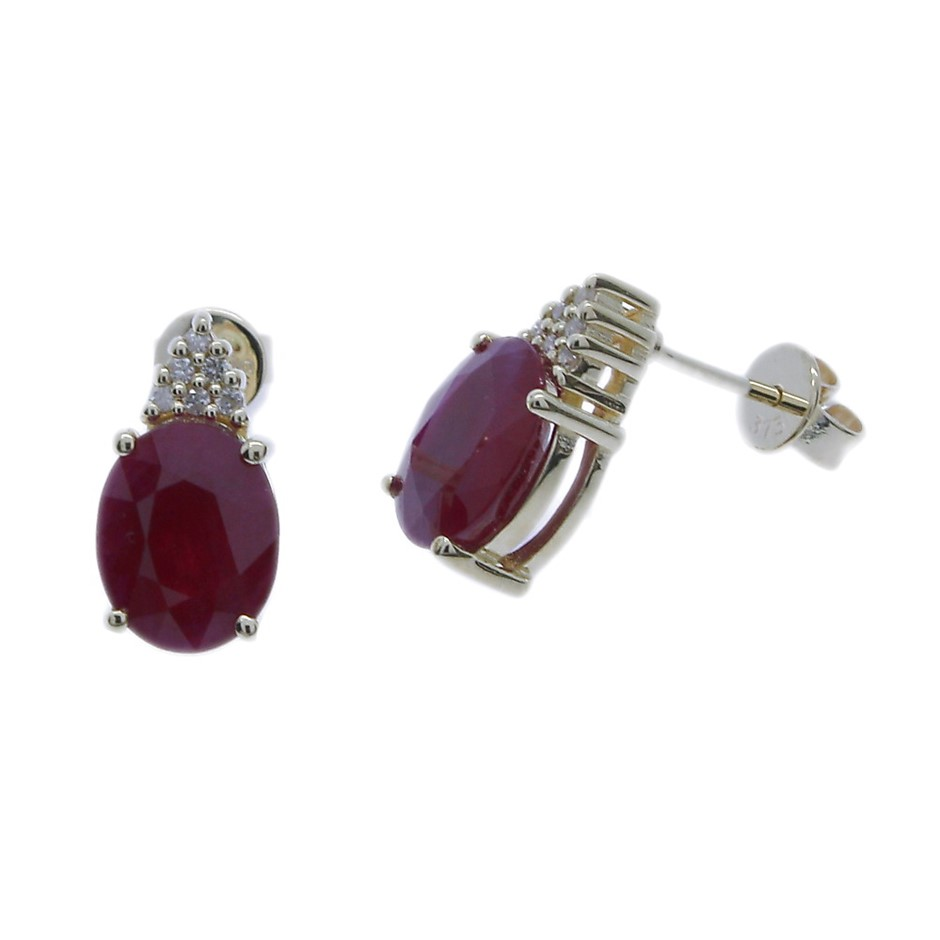 9ct Yellow Gold, 4.19ct Ruby and Diamond Earring