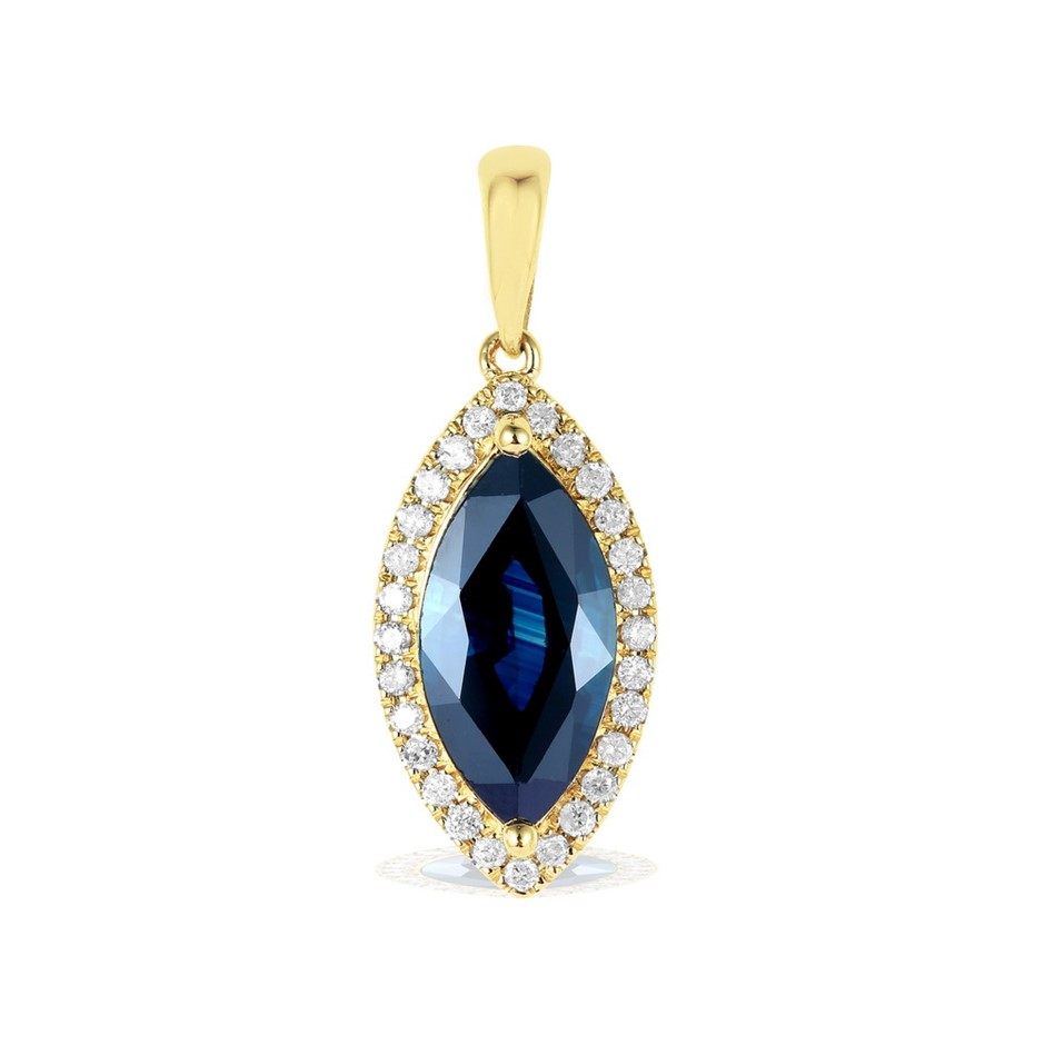 9ct Yellow Gold, 2.38ct Blue Sapphire and Diamond Pendant