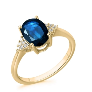 9ct Yellow Gold, 2.49ct Blue Sapphire an