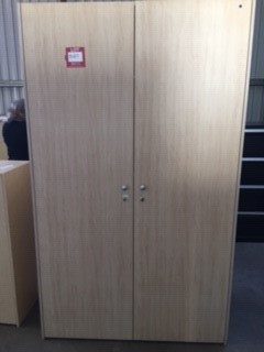 Beach Colour Timber Storage Cupboard - 2 Door (With Shelves)