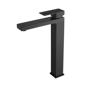 Solid Brass Square Black Tall Basin Mixe