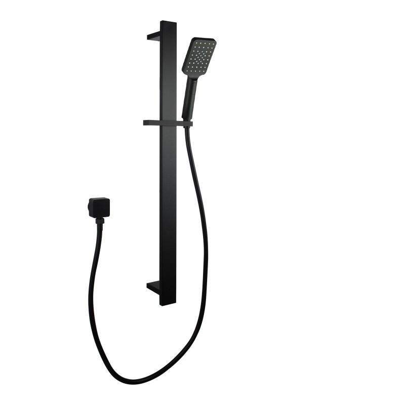 Square Black Sliding Shower Rail, 3 Mode Handheld Shower Wall Connector