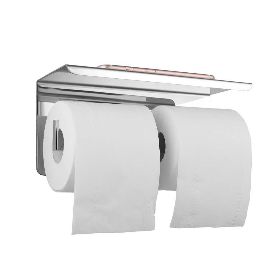 Chrome Double Toilet Paper Holder Stainless Steel Wall Mounted