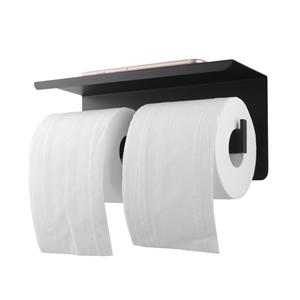 Black Double Toilet Paper Holder Stainle