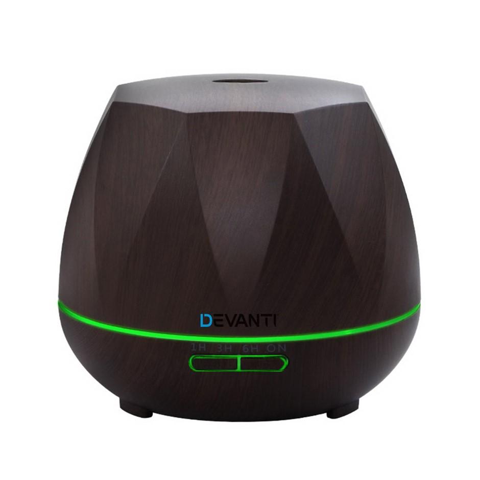 Devanti Ultrasonic Aroma Aromatherapy Diffuser Oil Electric LED Dark Wood