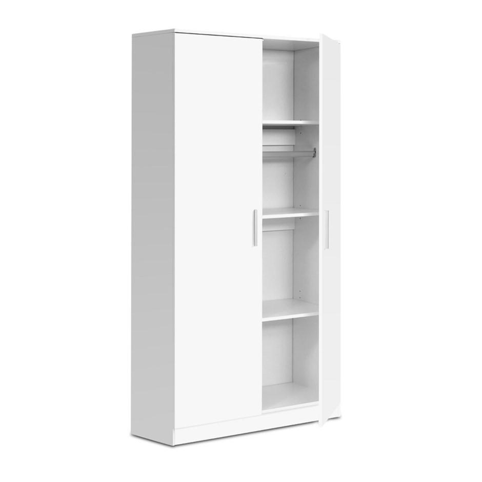Artiss Multi-purpose Cupboard 2 Door 180cm Wardrobe Storage Organiser White