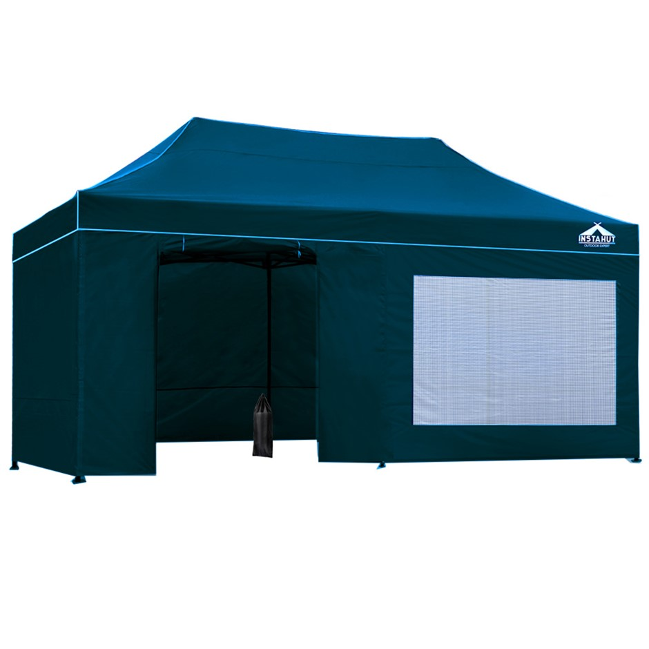 Instahut Outdoor Pop Up Gazebo 3x6 Marquee Tent Wall Gazebos Sailor Blue