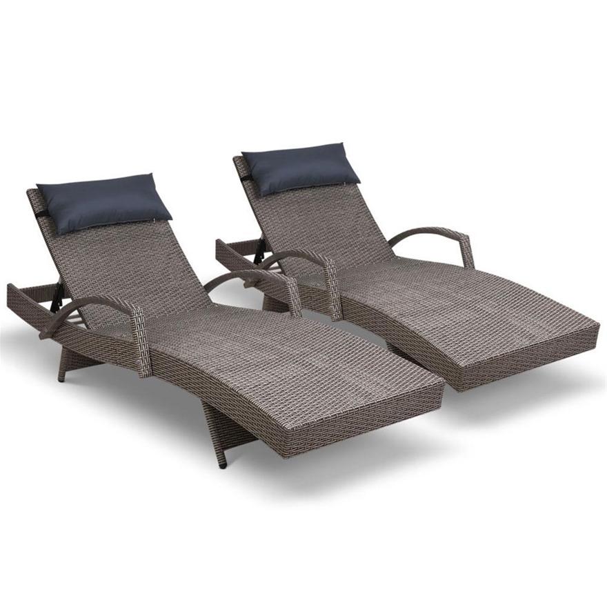 Buy Gardeon Sun Lounge Setting Rattan Wicker Day Bed ...