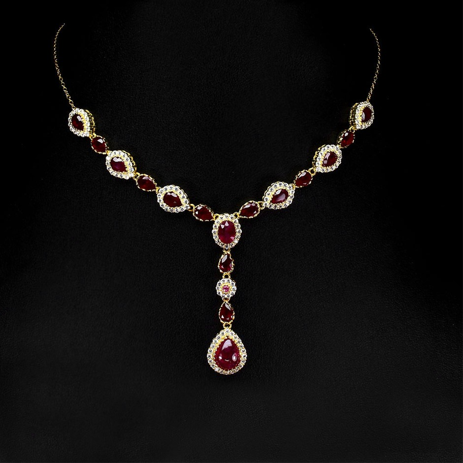 Spectacular Genuine Ruby Drop Necklace
