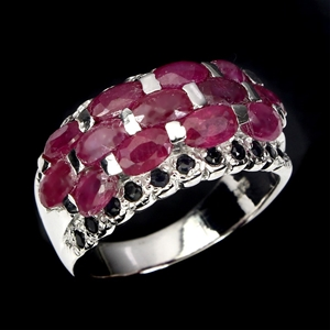 Genuine Ruby & Sapphire Dome Ring.